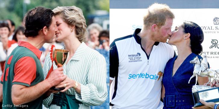 Balra Károly herceg és Lady Diana, jobbra Harry herceg és Meghan Markle