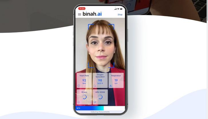 A binah.ai egy okostelefonos kamera segítségével az arcunkat kielemezve méri fel egészségi állapotunkat (Forrás: binah.ai)