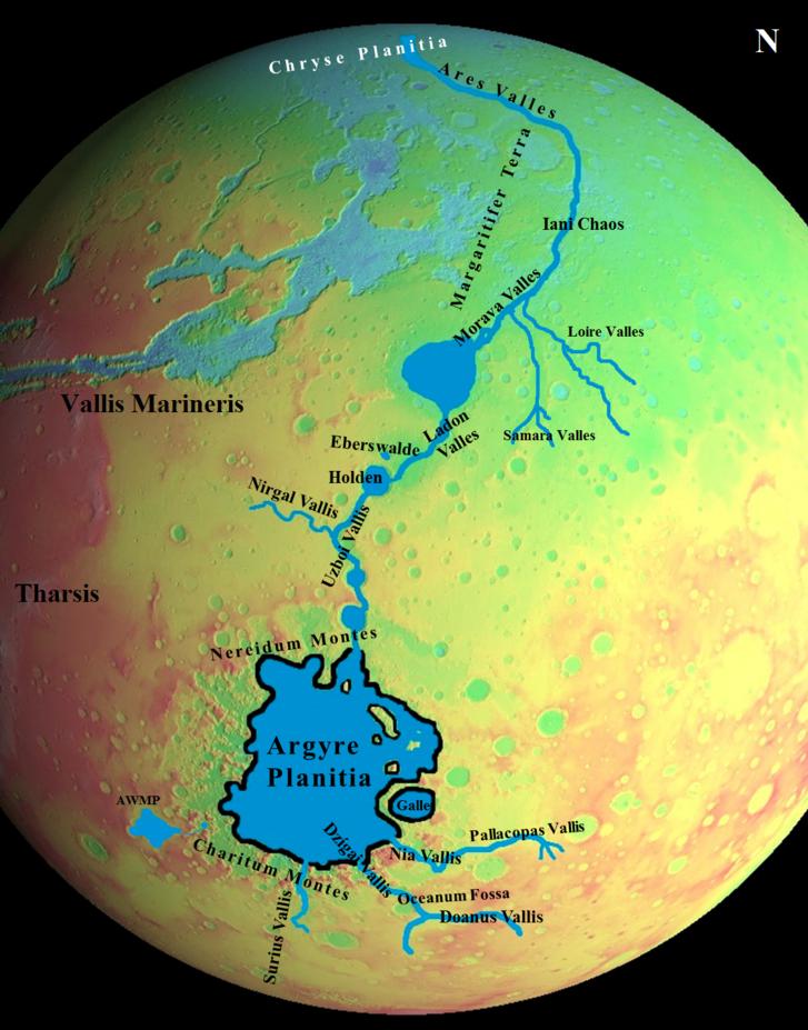 Az Uzboi–Ladon–Morava-folyórendszer elhelyezkedése a Mars magassági színezésű térképén (Mars Globe 2.3 iOS alkalmazás alapján)