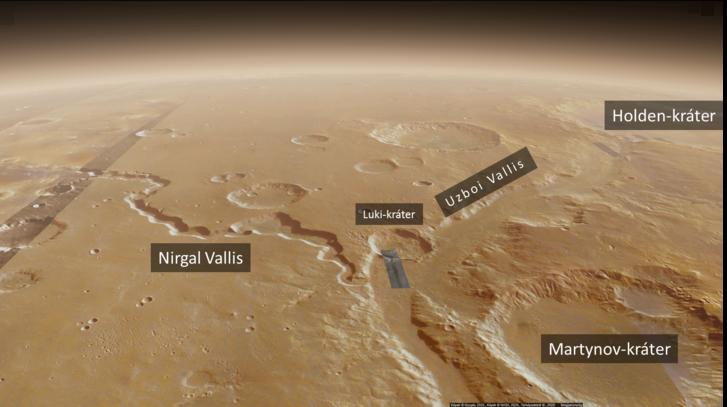 Az ULM felső szakasza: az Uzboi Vallis és a bele tartó Nirgal Vallis torkolatának környéke