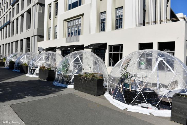 Éttermi buborékok Wellingtonban 2020 augusztus 15-én.