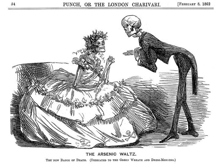 Korabeli karikatúra egy arzént viselő nőről.