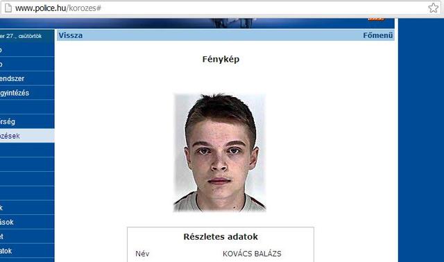 Kovács Balázs körözési fotója a police.hu-n