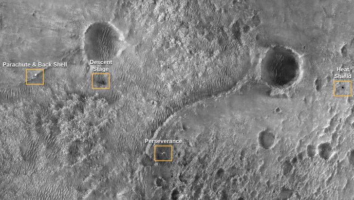 A Mars körül keringő Mars Reconnaissance Orbiter képe a landolás során szétszórt elemek elhelyezkedéséről