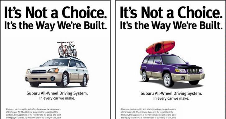 """Amerikában a Subaru a szeretetre és elfogadásra építő kampányával az LMBT-közösség de facto kedvencévé vált. A képen: """"Ez nem választás kérdése. Így vagyunk megépítve."""""""