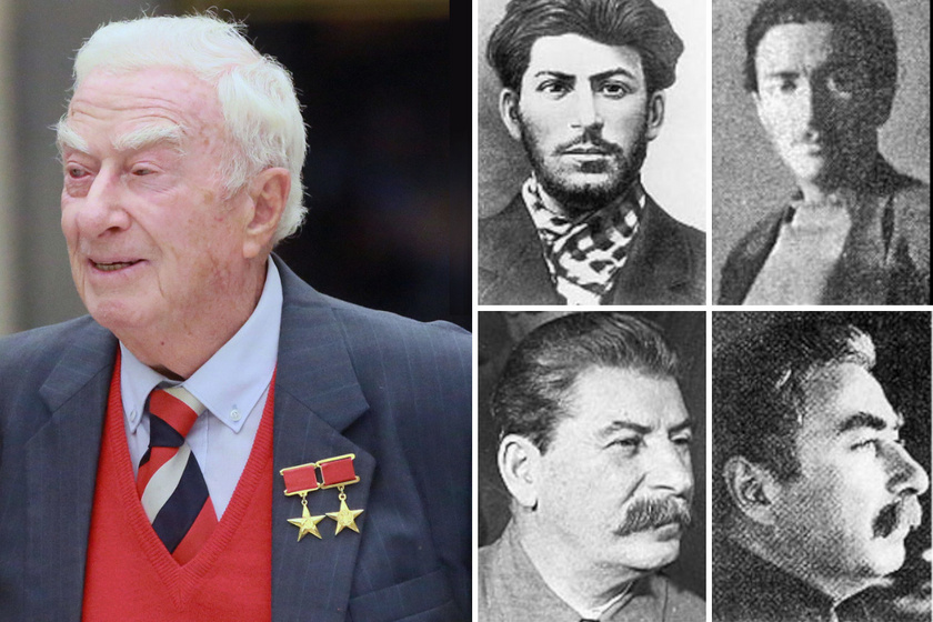 Balra: Dadaev ma. Jobbra fent: Sztálin fiatalkori képe és Dadaev fiatalkori képe. Jobbra lent: Sztálin és a hasonmás.