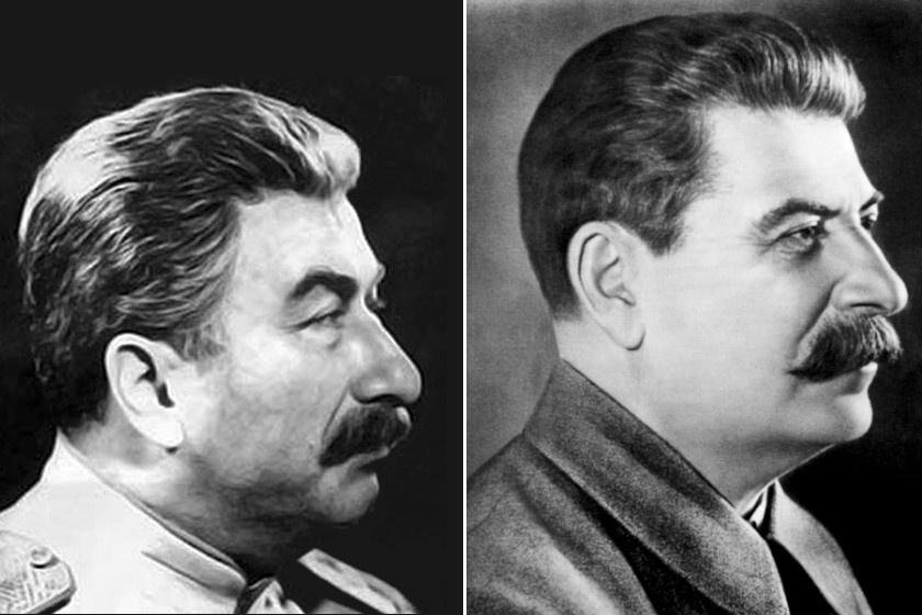 Balra a dublőr, jobbra Sztálin látható.