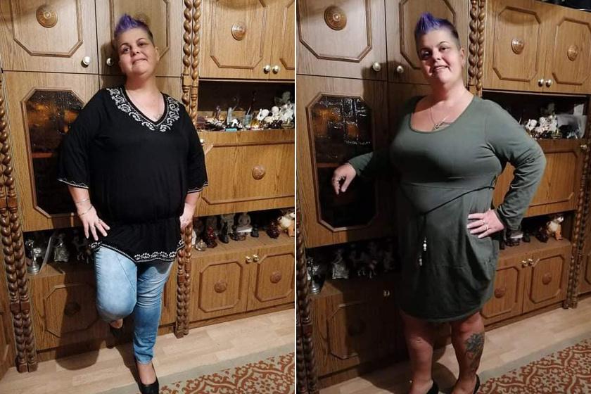 Így néz ki Angéla 50 kilós fogyása után.