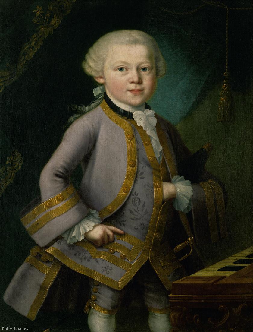 Mozart egyik gyermekkori portréja 1763-ból: feltehetőleg Pietro Antonio Lorenzoni festette a zeneszerző apja megrendelésére.