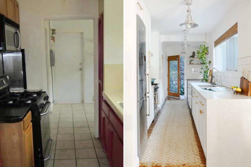 Ez a helyiség hosszúsága miatt rideg volt, és inkább átjárónak tűnt, mint konyhának, de a fehér-arany szekrény és az új burkolatok csodát tettek vele. A szőnyeg stílust, a növények életet vittek a térbe. Szuper ötlet volt üvegezett ajtóra váltani, mert így láthatóvá vált a kert.