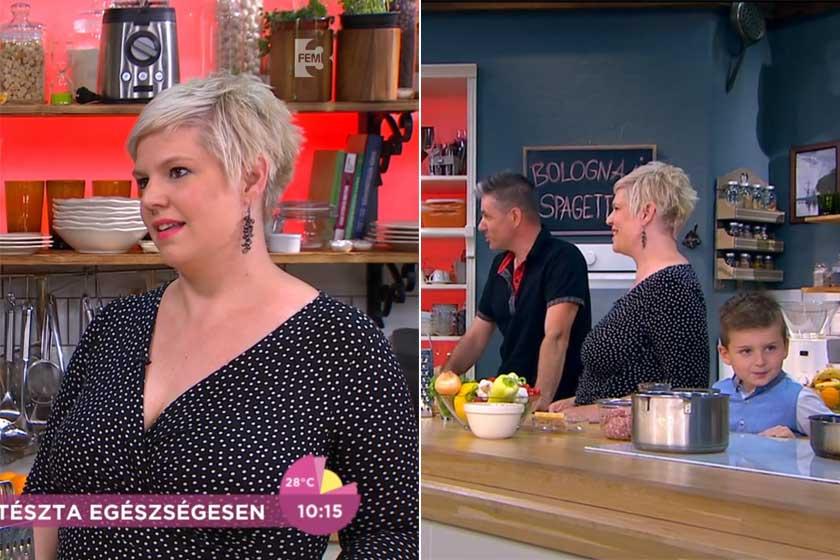 Balássy Betty férjével és nagyobbik fiukkal a FEM3 Café egyik 2019 júniusi adásában.