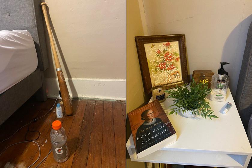 Ez a két kép indította el a fotólavinát a Twitteren: a férfi ágya mellett a baseballütő, a víz és a töltő kapott helyet, míg Hanny Styles éjjeliszekrényét kép és növény díszíti, de a könyv, valamint a kézkrém sem maradhatott el róla.