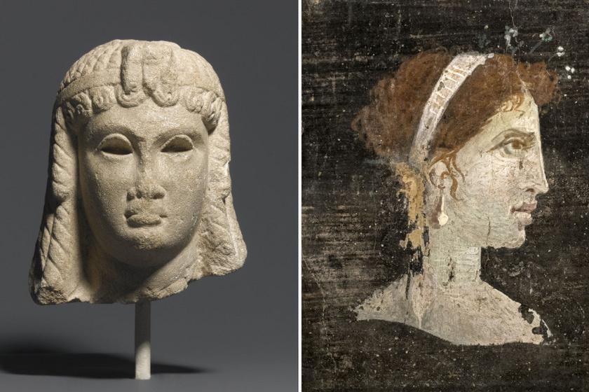 Kleopátra két ókori megjelenítése: balra egy egyiptomi, i. e. 51-30 közötti szoborfej, jobbra pedig egy feltehetően posztumusz ábrázolás Herculeaneumból, az i. sz. 1. századból. De milyen lehetett valójában?
