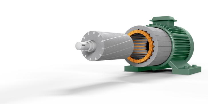 Háromfázisú aszinkronmotor felépítése. A forgórész egyszerű hengernek látszik, de van egy trükkje