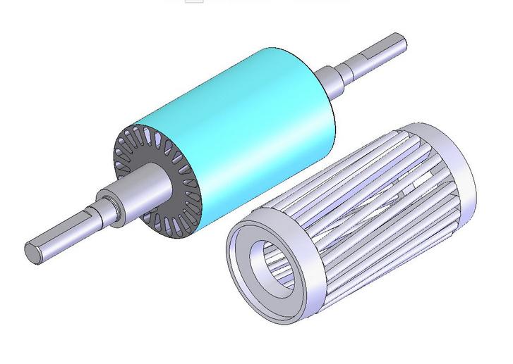 Ilyen mókuskereket rejt a kalickás háromfázisú aszinkron motorok forgórésze. A levegőt vaslemezekből összerakott mag tölti ki
