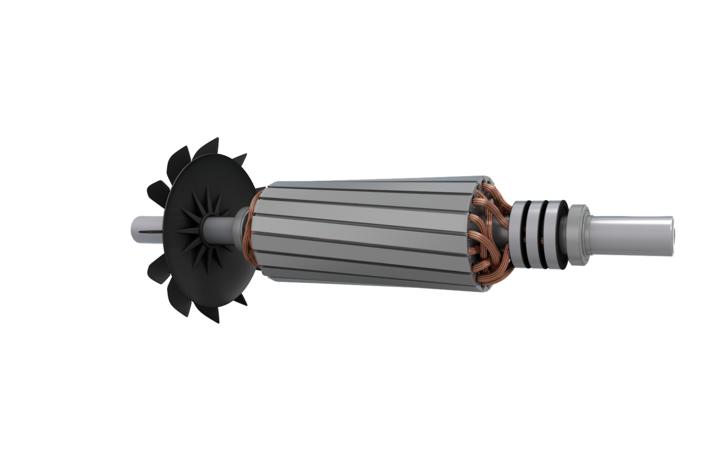 Három csúszógyűrű a tekercselt forgórészű aszinkron motor tengelyén. Könnyebben indul és jobban szabályozható, de drága