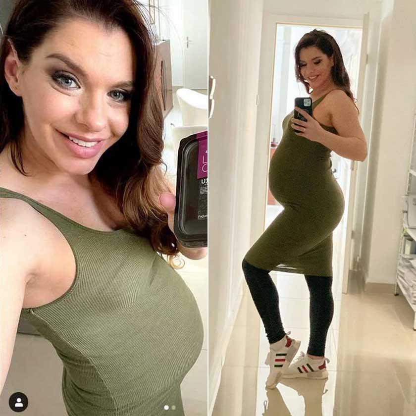 Dér Heni első gyermekével várandós, a márciust a 30. hétben köszöntötte.