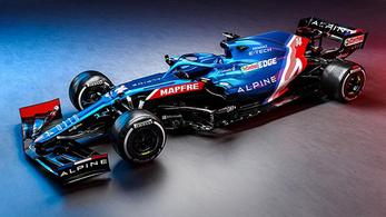 Kék színben pompázik az Alpine F1-es versenygépe