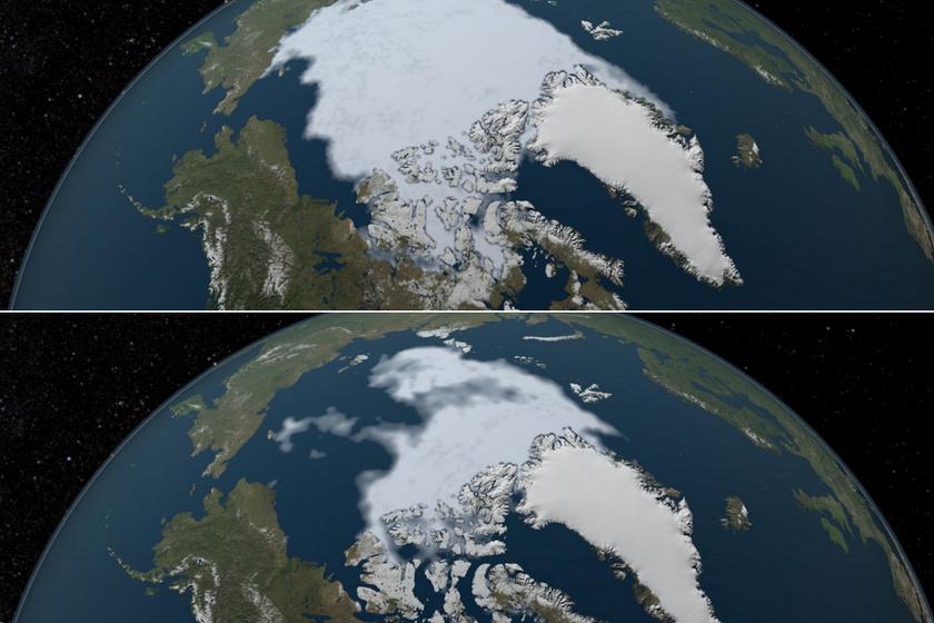 Az Északi-sarkvidék 1984-ben. És alig 28 évvel később, 2012-ben.
