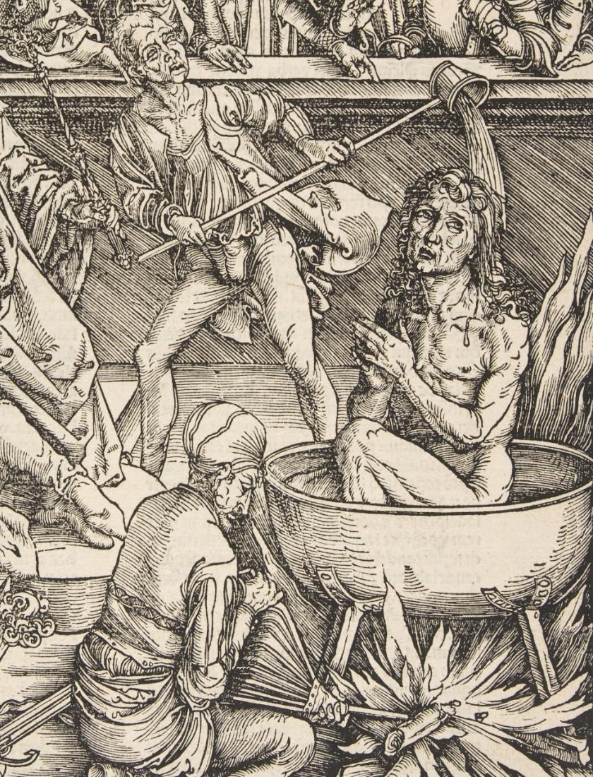 A forralás nevű kínzási módszer eszköze egyszerű volt: egy kondér víz vagy más folyadék, például olvasztott viasz vagy olaj volt, melybe beleültették az alanyt, majd alágyújtottak, és lassú kínok közepette halálra főzték. Ezt a kegyetlen módszert még VIII. Henrik idején is alkalmazták.