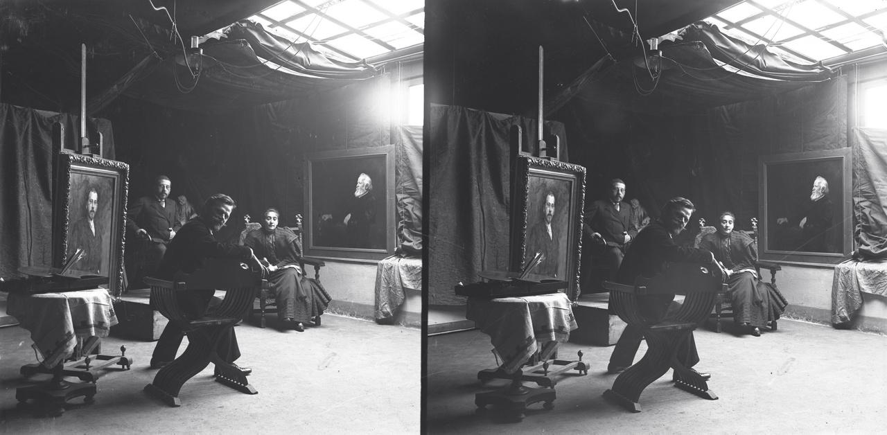László Fülöp festőművész műterme – König Gyula műegyetemi tanár és felesége az elkészült festmény előtt