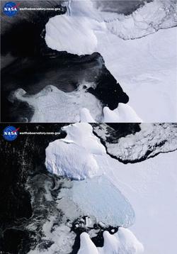 A jégtábla leszakadása előtt és után