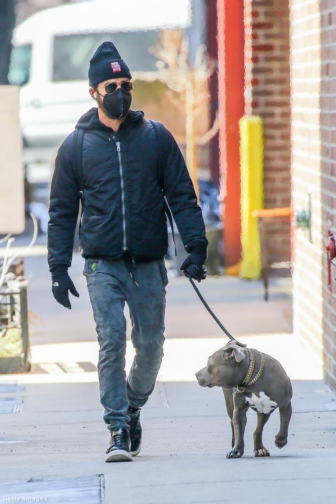 És az ötödik híresség, aki belebotlott tegnap egy orvfotósba, Justin Theroux színész, aki Kuma nevű kutyájával ment egy kört.