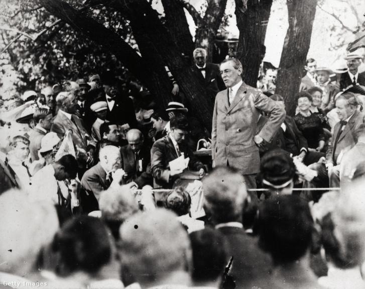 Woodrow Wilson demokratáknak mond beszédet New Jerseyben