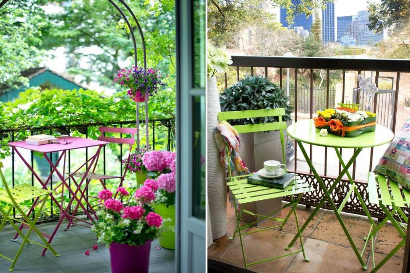Ha az erkélyen lévő bútor lehangoló, akkor a szépítgetést annak a cseréjével érdemes kezdeni. Egy olcsóbb fémgarnitúra már néhány ezer forintért beszerezhető. Élénk színben a szék és asztal egyúttal dekorálni is fogja a teret.