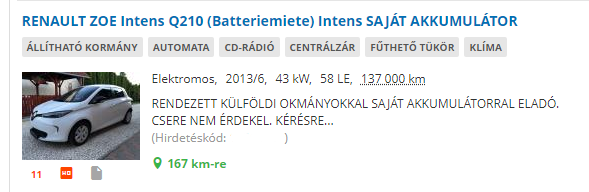 """Ez van, amikor az eredeti hirdetésből kimásolsz mindent, és benne felejted, hogy """"Batteriemiete"""", azaz BÉRAKKU. Nagybetűkkel már az kerül a magyar hirdetésbe, hogy saját akkuval adják"""