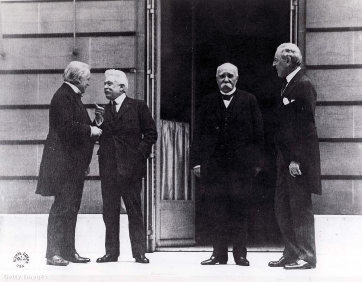 David Lloyd George, Vittorio Emanuele Orlando, Georges Clemenceau és Woodrow Wilson