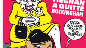 II. Erzsébet térdel Meghan Markle nyakán a Charlie Hebdo új címlapján