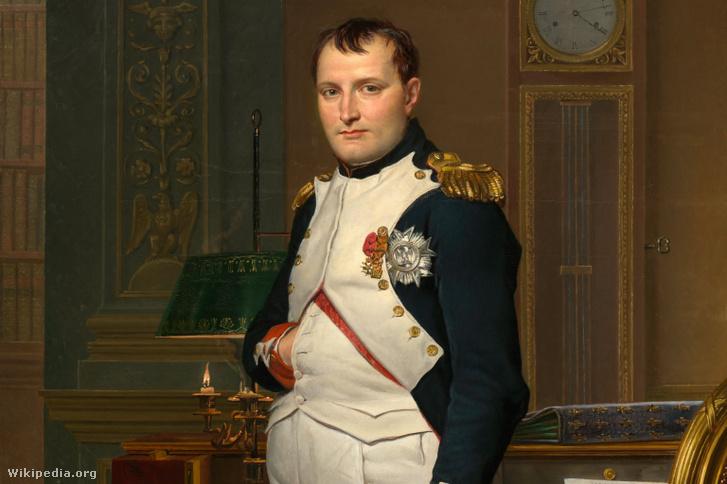 """Napóleon császár Jacques-Louis David 1812-es portréján, """"Napóleon az irodájában"""" címmel"""