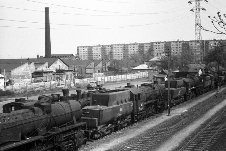 Budapest-Vizafogó pályaudvar, leselejtezett (korábban letétes) gőzmozdonyok 1975-ben.