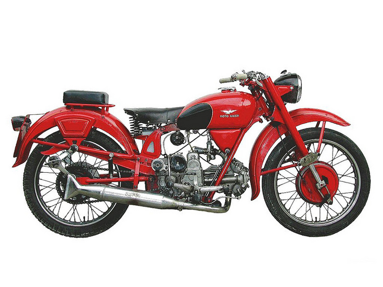 Moto Guzzi Airone 250 (1939.)                         Ez még mindig egy fekvő egyhengeres, de fontos előrelépés volt műszakilag, a teleszkópvillával és a nagy első dobfékkel ez már kifejezetten modern motornak számított a maga idejében, és egyben elérhetőbb volt a tömegek számára, mint a korábbi 500-asok