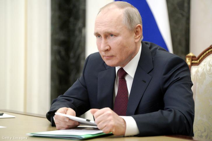 Vlagyimir Putyin egy videókonferencián 2021. március 18-án