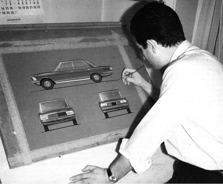 Giorgetto Giugiaro Mazda Familiát rajzol, vagy ez már az 1966-os Luce egy korai vázlata?