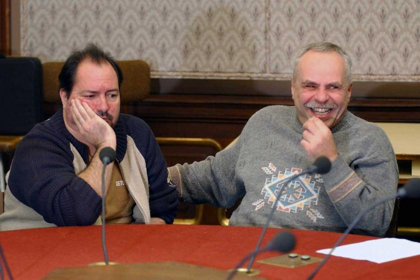 Nádas György és Markos György 2005. december 29-én a szilveszteri rádiókabaré sajtótájékoztatóján a Magyar Rádióban.