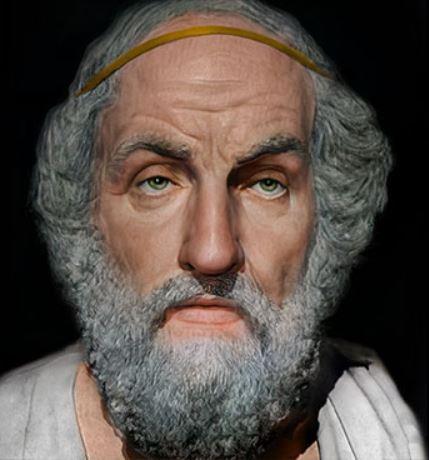 Melyik ókori görög költő arcrekonstrukciója látható a képen?
