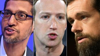 Kongresszusi össztűz zúdult a Google, a Facebook és a Twitter vezetőire