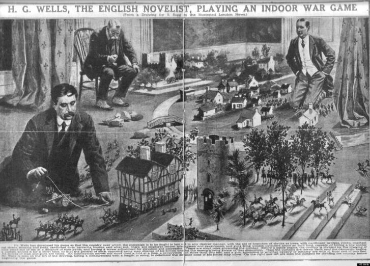 H. G. Wells és barátai a padlón játszanak az író által kitalált szabályok alapján. A méretarányt nehéz megtippelni, talán 1:50