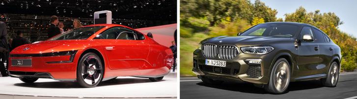 Na melyik a kívánatosabb? A VW nyomi, szuperáramvonalas XL1-ese, amit 111 ezer euróért árultak, vagy egy X6 80 ezer euróért?