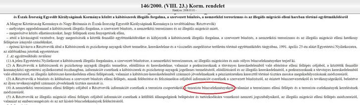 Tenorista bűncselekmények  kormányrendeletben