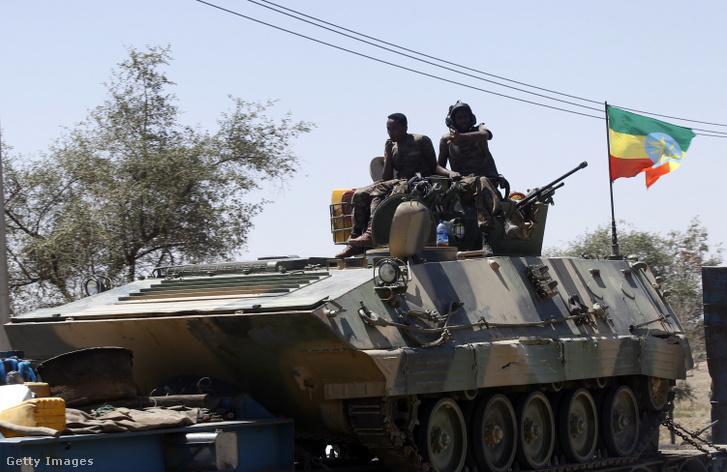 Az etióp kormány katonái Mekele városában 2021. március 7-én