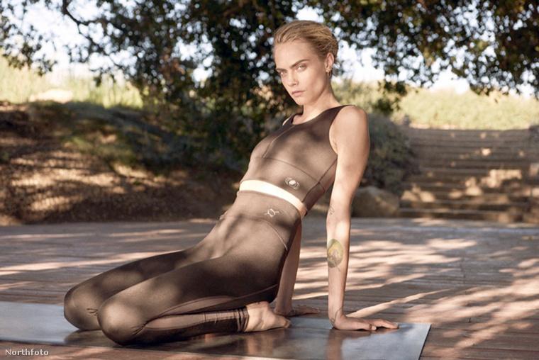 Cara Delevingne itt most nem saját kedvtelésből térdel a jógamatracon, hanem a Puma nevű cég kampányához fotózzák