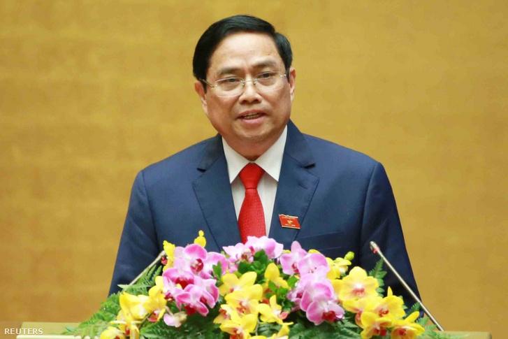Pham Minh Chinh felszólal, miután 2021. április 5-én a vietnámi hanoi ünnepségen esküt tett miniszterelnökként