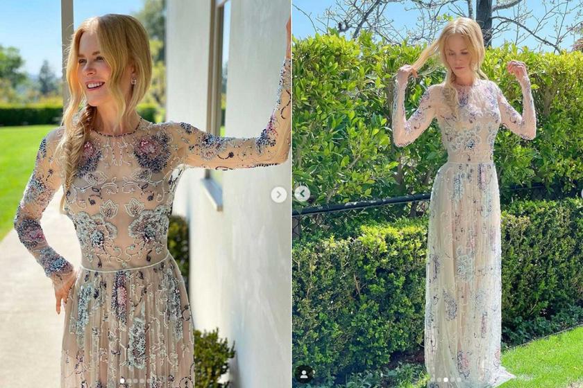 Nicole Kidmant otthona hátsó kertjében fotózták le az eseményre ebben a pazar Giorgio Armani estélyi ruhában.