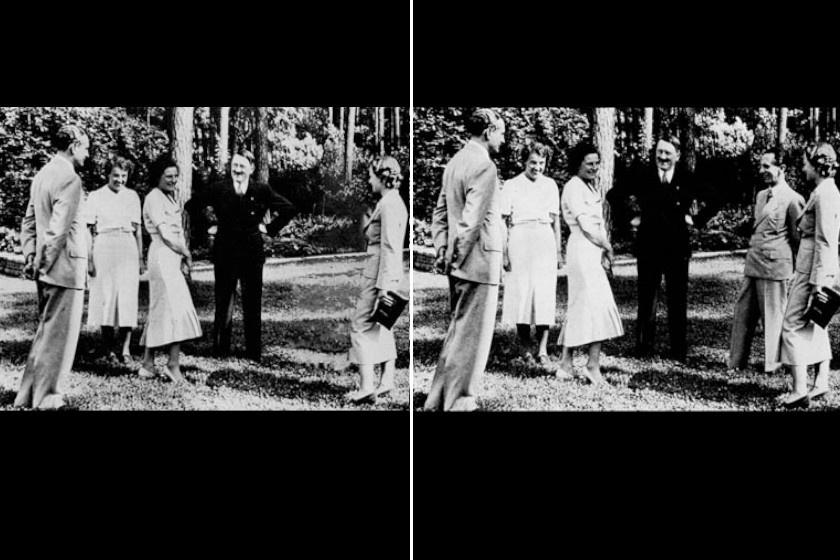 A manipulált fotók sorát Hitler képével indítjuk, aki 1937-es képéről eltávolíttatta a jobbra még látható Joseph Goebbelst, noha elvileg a leghűségesebb követője, közvetlen munkatársa volt a náci párti politikus.