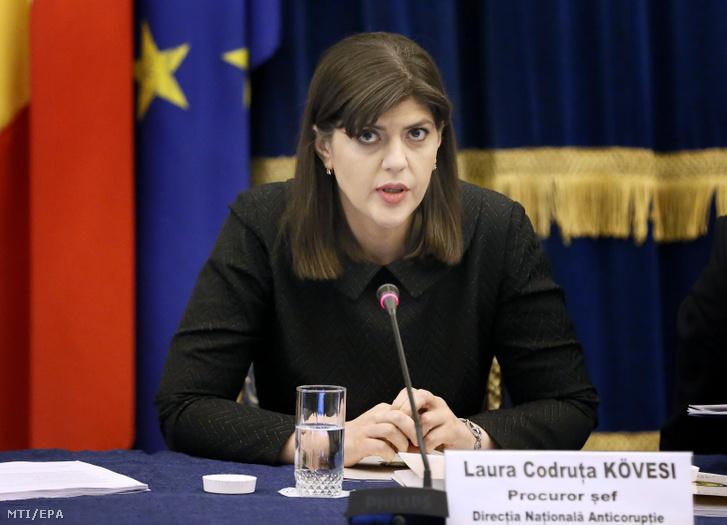 Laura Codruta Kövesi bukaresti évértékelő értekezleten 2018. február 28-án.