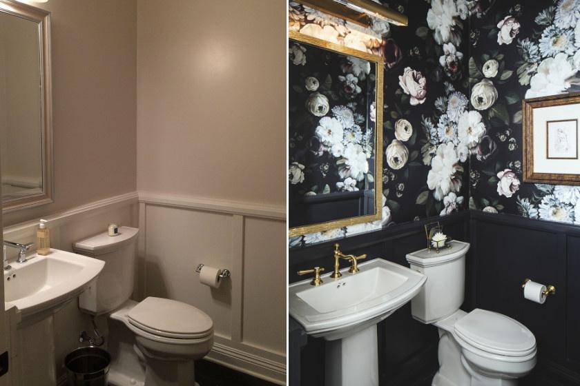 Bár különösebben nem szorult felújításra, ez a lehangoló, túlságosan is egyszerű helyiség tündérbirodalommá változott ezzel a rózsás tapétával. A fal sötétsége a virágokra irányítja a figyelmet, és szép kontrasztot alkot a fehér elemekkel.
